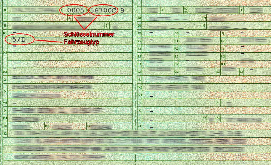Fahrzeugtyp Fahrzeugschein
